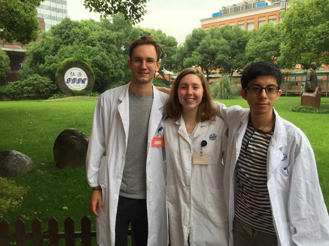 A group of medical students take a break at a hospital in Shanghai during their summer internship in China.